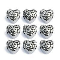 Edelstahl-Perlen mit großem Loch, Edelstahl, Herz, großes Loch & Schwärzen, originale Farbe, 10mm, Bohrung:ca. 5mm, 5PCs/Strang, verkauft von Strang
