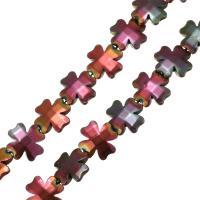 Nicht-magnetische Hämatit Perlen, Non- magnetische Hämatit, vierblättriges Kleeblatt, plattiert, 13x13x3.50mm, Bohrung:ca. 1mm, Länge:ca. 15 ZollInch, 10SträngeStrang/Menge, ca. 32PCs/Strang, verkauft von Menge