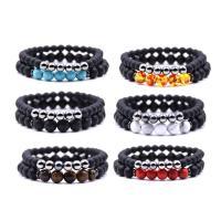 Lava Armband-Set, mit Edelstein & Messing, Platinfarbe platiniert, natürliche & verschiedenen Materialien für die Wahl & unisex, Länge:ca. 7.5 ZollInch, 2SträngeStrang/setzen, verkauft von setzen