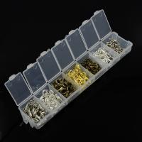Eisernen Karabinerverschluss, Eisen, mit Kunststoff Kasten, plattiert, gemischt, frei von Blei & Kadmium, 7-15mm, ca. 140PCs/Box, verkauft von Box