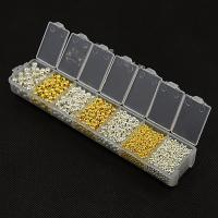 Eisen Schmuckperlen , mit Kunststoff Kasten, plattiert, gemischt, frei von Blei & Kadmium, 2-5mm, Bohrung:ca. 1mm, ca. 140PCs/Box, verkauft von Box