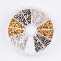 Eisen Positionierung Bead, mit Kunststoff Kasten, plattiert, gemischte Farben, frei von Blei & Kadmium, 1.5-2mm, Bohrung:ca. 1-1.5mm, verkauft von Box