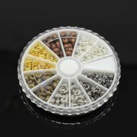 Eisen Positionierung Bead, mit Kunststoff Kasten, plattiert, gemischte Farben, frei von Blei & Kadmium, 5x4mm, Bohrung:ca. 2mm, ca. 250PCs/Box, verkauft von Box