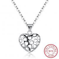 925 Sterling Silber Halskette, mit Verlängerungskettchen von 1.59lnch, Herz, platiniert, Oval-Kette & für Frau & hohl, 11x11mm, verkauft per ca. 16.1 ZollInch Strang