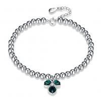 comeon® Schmuck Armband, 925 Sterling Silber, mit Verlängerungskettchen von 1.37lnch, platiniert, Perlen Armband & für Frau & Emaille & mit kubischem Zirkonia, verkauft per ca. 6.3 ZollInch Strang