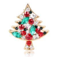 Zinklegierung Brosche, mit Kristall, Weihnachtsbaum, goldfarben plattiert, unisex & facettierte, 30x34mm, verkauft von PC