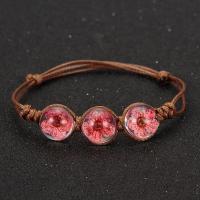 Gewachsten Baumwollkordel Armband, mit Glas, rund, handgemacht, einstellbar & für Frau, keine, 12mm, verkauft per ca. 7-7.8 ZollInch Strang