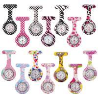 Hängende Uhr, Silikon, mit Zinklegierung Zifferblatt, Platinfarbe platiniert, unisex & verschiedene Muster für Wahl, 42x80x13mm, verkauft von PC