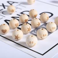 Holzperlen, Holz, rund, verschiedene Muster für Wahl, originale Farbe, 20mm, Bohrung:ca. 1mm, 20PCs/Tasche, verkauft von Tasche