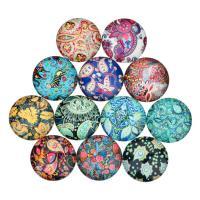 Glas Cabochons, flache Runde, Zeit Edelstein Schmuck & gemischtes Muster & verschiedene Größen vorhanden & flache Rückseite & Aufkleber, 20PCs/Tasche, verkauft von Tasche