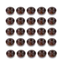 Holzperlen, Holz, Rondell, dunkle Kaffee-Farbe, 7x12mm, Bohrung:ca. 3mm, 200PCs/Tasche, verkauft von Tasche
