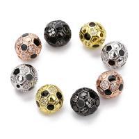 Befestigte Zirkonia Perlen, Messing, rund, plattiert, Micro pave Zirkonia, keine, frei von Nickel, Blei & Kadmium, 10mm, Bohrung:ca. 1mm, 2PCs/Tasche, verkauft von Tasche