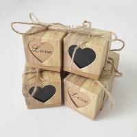 Kraftpapier Hochzeit-Candy-Box, mit Hanfgarn, verschiedene Muster für Wahl, 50x50x50mm, 50PCs/Menge, verkauft von Menge