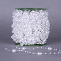 Garland-Strang Perlen, ABS-Kunststoff-Perlen, mit Kunststoffspule, oval, keine, 3mm, 11x8mm, 2PCs/Menge, 60m/PC, verkauft von Menge