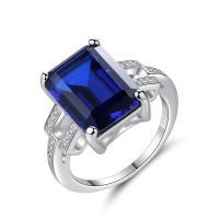 Messing Fingerring, mit Österreichischer Kristall, platiniert, verschiedene Größen vorhanden & Micro pave Zirkonia & für Frau & facettierte, keine, frei von Nickel, Blei & Kadmium, 13x9mm, verkauft von PC