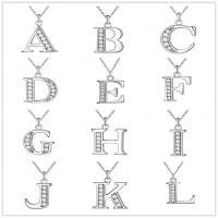 Messing Halskette, silberfarben plattiert, Oval-Kette & verschiedene Stile für Wahl & für Frau & mit Strass, frei von Nickel, Blei & Kadmium, verkauft per ca. 15.7 ZollInch Strang