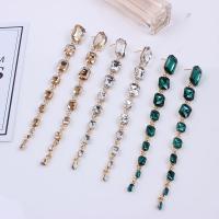 Zinklegierung Tropfen Ohrring, mit Kristall, goldfarben plattiert, für Frau & facettierte, keine, 12x145mm, verkauft von Paar