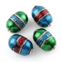 Zinklegierung Großes Loch Perlen, oval, antik silberfarben plattiert, Emaille, keine, frei von Blei & Kadmium, 32x46mm, Bohrung:ca. 5mm, verkauft von PC