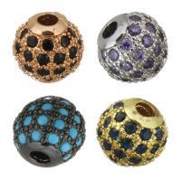 Befestigte Zirkonia Perlen, Messing, rund, plattiert, Micro pave Zirkonia, keine, frei von Nickel, Blei & Kadmium, 6.50x6x6.50mm, Bohrung:ca. 1.5mm, 20PCs/Menge, verkauft von Menge