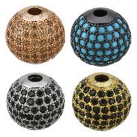 Befestigte Zirkonia Perlen, Messing, rund, plattiert, Micro pave Zirkonia, keine, frei von Nickel, Blei & Kadmium, 12x11.50x12mm, Bohrung:ca. 3mm, 10PCs/Menge, verkauft von Menge
