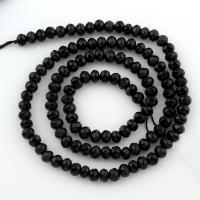 Natürliche schwarze Achat Perlen, Schwarzer Achat, Rondell, facettierte, 4x3mm, Bohrung:ca. 1mm, verkauft per ca. 15 ZollInch Strang