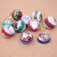 Eisen Weihnachts-Geschenkbox, rund, plattiert, Weihnachtsschmuck, gemischte Farben, 65mm, verkauft von PC