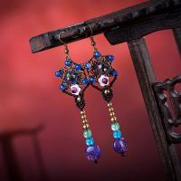 Messing Tropfen Ohrring, mit Gewachste Nylonschnur & Achat & Lampwork, plattiert, für Frau, 100mm, verkauft von Paar