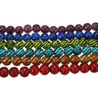 Handgewickelte Perlen, Lampwork, rund, für Frau & Streifen, keine, 11x12x12mm, Bohrung:ca. 2mm, Länge:ca. 9 ZollInch, 5SträngeStrang/Menge, ca. 20PCs/Strang, verkauft von Menge