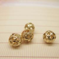 Messing hohle Perlen, rund, 24 K vergoldet, verschiedene Größen vorhanden, frei von Blei & Kadmium, Bohrung:ca. 1-2mm, 10PCs/Tasche, verkauft von Tasche