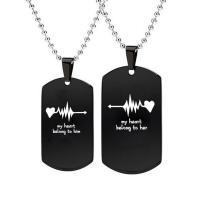 Edelstahl Ehepaar Halskette, Kugelkette & verschiedene Stile für Wahl & mit Strass, verkauft per ca. 22 ZollInch Strang
