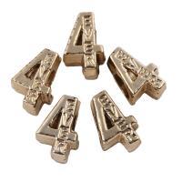 Zink Legierung Europa Alphabet Perlen, Zinklegierung, Nummer 4, vergoldet, mit Brief Muster, frei von Blei & Kadmium, 8x13x7mm, Bohrung:ca. 5mm, 20PCs/Tasche, verkauft von Tasche