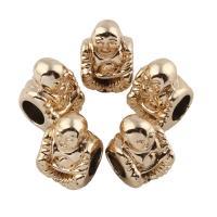 Zinklegierung Großes Loch Perlen, Buddha, vergoldet, frei von Blei & Kadmium, 11x15x9mm, Bohrung:ca. 6mm, 20PCs/Tasche, verkauft von Tasche