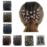 Stahldraht Haarknoten Dutt Dreher, mit Kristall, Blume, facettierte, keine, 90x80mm, verkauft von PC