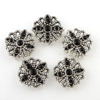 Blume Zinklegierung Schmuckverbinder, antik silberfarben plattiert, Emaille & 2/2-Schleife, frei von Blei & Kadmium, 18x2mm, Bohrung:ca. 1mm, 10PCs/Tasche, verkauft von Tasche