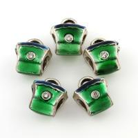 Zinklegierung Stiftöse Perlen, antik silberfarben plattiert, Emaille & mit Strass, frei von Blei & Kadmium, 11x12x9mm, Bohrung:ca. 2-4.5mm, 10PCs/Tasche, verkauft von Tasche