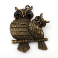 Zinklegierung Tier Anhänger, Eule, antike Bronzefarbe plattiert, mit Strass, frei von Blei & Kadmium, 74x89x9mm, Bohrung:ca. 5mm, verkauft von PC