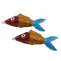 Zinklegierung Tier Anhänger, Fisch, antik silberfarben plattiert, Emaille, frei von Blei & Kadmium, 23x68x14mm, Bohrung:ca. 2mm, verkauft von PC