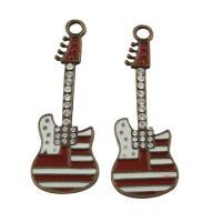 Musikinstrument Zinklegierung Anhänger, Gitarre, antike Bronzefarbe plattiert, Emaille & mit Strass, frei von Blei & Kadmium, 21x63x3mm, Bohrung:ca. 5mm, verkauft von PC