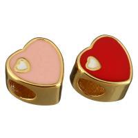 Messing European Perlen, Herz, goldfarben plattiert, ohne troll & Emaille, keine, 10x10x7mm, Bohrung:ca. 5mm, 10PCs/Menge, verkauft von Menge