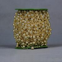Garland-Strang Perlen, Acryl, mit Kunststoffspule, rund, goldfarben plattiert, 8mm, 2PCs/Menge, 60m/PC, verkauft von Menge