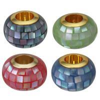 Messing European Perlen, mit Muschel, Trommel, vergoldet, Epoxy Aufkleber & ohne troll, keine, 11x7.50x11mm, Bohrung:ca. 4.5mm, 10PCs/Menge, verkauft von Menge