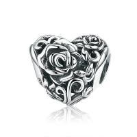 Thailand European Perlen, Herz, mit Blumenmuster & ohne troll & hohl, 11x13mm, verkauft von PC