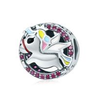 Thailand European Perlen, Micro pave Zirkonia & ohne troll & Emaille & hohl, 13x13mm, verkauft von PC