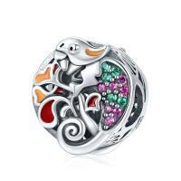 Thailand European Perlen, Eidechse, Micro pave Zirkonia & ohne troll & hohl, 11x12mm, verkauft von PC