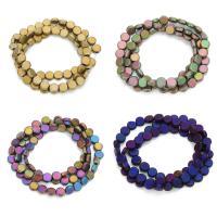 Nicht-magnetische Hämatit Perlen, Non- magnetische Hämatit, flache Runde, plattiert, verschiedene Größen vorhanden, keine, Bohrung:ca. 1mm, verkauft per ca. 12 ZollInch Strang