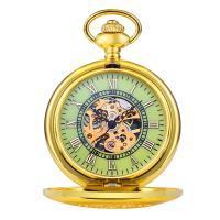 Zinklegierung Taschenuhr, mit Glas, goldfarben plattiert, für den Menschen & wasserdicht & glänzend & hohl, 40.5x10mm, Länge:ca. 13.7 ZollInch, verkauft von PC