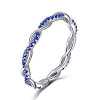 Zirkonia Micro Pave Sterling Silber Ringe, 925 Sterling Silber, platiniert, unisex & verschiedene Größen vorhanden & Micro pave Zirkonia, 2mm, verkauft von PC