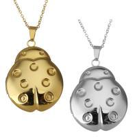 Edelstahl Medaillon-Halskette, mit Verlängerungskettchen von 2Inch, Marienkäfer, plattiert, Oval-Kette & für Frau, keine, 29x37.5mm, 1.5mm, Innendurchmesser:ca. 21x25mm, verkauft per ca. 18 ZollInch Strang