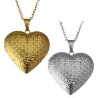 Edelstahl Medaillon-Halskette, mit Verlängerungskettchen von 2Inch, Herz, plattiert, Oval-Kette & für Frau, keine, 29x29mm, 1.5mm, Innendurchmesser:ca. 21x17mm, verkauft per ca. 18 ZollInch Strang