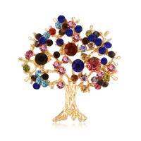 Zinklegierung Broschen, Baum, goldfarben plattiert, für Frau & mit Strass, frei von Blei & Kadmium, 48x51mm, verkauft von PC